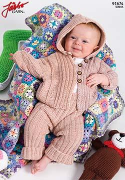 Jacka med luva och resårstickade leggings till baby